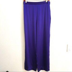 St John Evening Purple High Waist Silk Pants